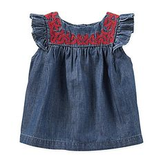 Your little country girl will look adorable in this Embroidered Chambray Flutter Sleeve Top from OshKosh Baby B'gosh. In a denim chambray, with pretty red leaf embroidery on the yoke and girly flutter sleeves, it will go well with a pant, short, or skirt.