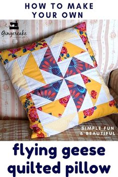 A simple new quilted pillow tutorial by Virginia Lindsay of Gingercake Patterns. This one uses the flying geese blocks to create a cute modern country look. This video tutorial creates a pillow block cover. Quilt Pillow Case, Owl Pillow, Patchwork Pillow, Quilted Pillow, Heart Pillow, Burlap Pillows, Sewing Pillows, Throw Pillows, Cushion Cover Pattern