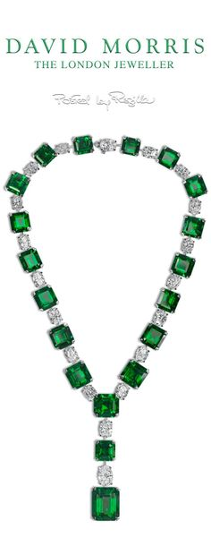 Regilla David Morris Important Emerald-Cut Emerald and Emerald-Cut Diamond Necklace You can see the Rest of the Outfit and my Comments on this board. Emerald Necklace, Emerald Jewelry, Drop Necklace, High Jewelry, Diamond Jewelry, Gemstone Necklace, Morris, Royal Jewels, Emerald Cut Diamonds