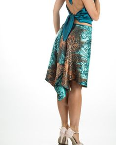 Gorgeous look! You will be a Tango Diva on a dance floor in this skirt. Made of hand-washable, polyester satin, softly cascading back, symmetrical