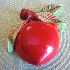 Chalkware Fruit Vintage Apple Plum Wall Hanging Chalk Ware Red Shabby Chic