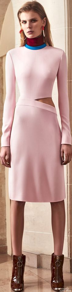 Mugler Pre-Fall 2016 - There is SO much I love about this! If only the cutout had been filmed with that beautiful mauve from the collar! Perfection!