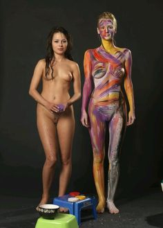Two lovely sister body painting
