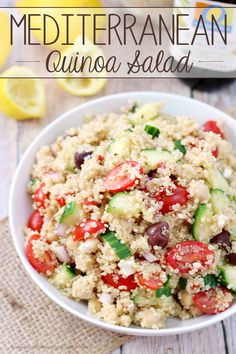 This Mediterranean Quinoa Salad makes the perfect lunch - it's packed with protein and plenty of fresh veggies!
