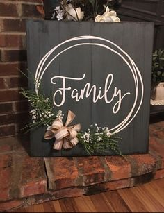 Family hand painted sign with hand drawn wreath burlap and lace bow foliage babys breath. Distressed weathered great gift Family hand painted sign with hand drawn wreath burlap and lace bow foliage babys breath. Diy Y Manualidades, Wreath Drawing, Diy Wood Signs, Family Wood Signs, Wooden Signs With Sayings, Wood Signs For Home, Rustic Wood Signs, Signs About Family, Wooden Sign Quotes