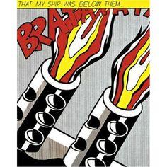 Reproduction de Roy Lichtenstein, As I open fire part 3 (En ouvrant le feu 3). Tableau peint à la main dans nos ateliers. Peinture à l'huile sur toile.