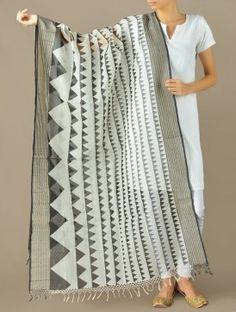 Classic B/W Tribal Maheshwari-Cotton Silk Dupatta