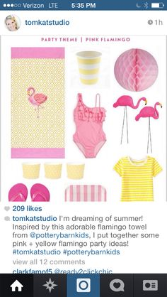 How cute! Pink flamingo party inspiration from Tomkat Sudio's Instagram feed. I can almost taste the pink lemonade now!