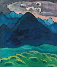 'Blauer Kegelberg' (c.1930) by German artist Gabriele Münter (1877-1962). Oil on canvas, 45 x 38 cm. ty, a long time alone. via Ketterer Kunst