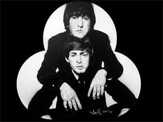 A greyscale portrait of the musicians John Lennon & Paul McCartney. The painting depicts John above McCartney with his arms over his shoulders , it is spray paint and acrylic on three old vinyls that are stuck in a pyramid pattern. John Lennon Paul Mccartney, Daisy, Portrait, Painting, Daisies, Painting Art, Portrait Illustration, Paintings, Bellis Perennis