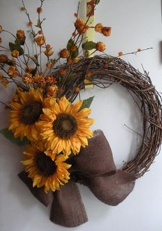 Sunflower wreath for Fall with wildflowers
