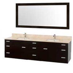 "78"" Encore-78 Espresso Bathroom Vanity BathroomRemodel #BlondyBathHome #BathroomVanity#ModernVanity"