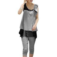 Allegra K Woman Sleeveless Mesh Lining Shirt w Capri Pants Black Light Gray XS Allegra K. $16.18