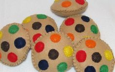 Felt play food MandM cookies by kiddycouture on Etsy, $8.00