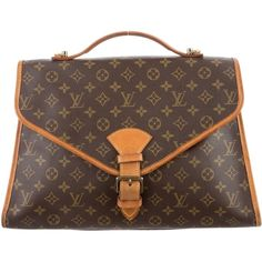 Pre-owned Louis Vuitton Monogram Beverly Briefcase ($695) ❤ liked on Polyvore featuring bags, briefcases and brown