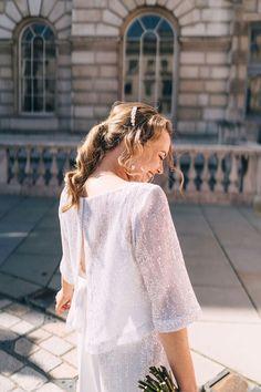 Bride wears sequin Charlie Brear separates. Miss Gen Photography Hatton Garden, Bridal Separates, Different Dresses, First Dance, Buttonholes, I Dress, Our Wedding, Reception, Sequins