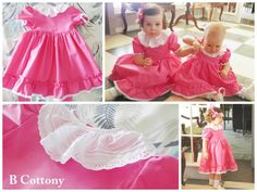 Vestidos de festa cor de rosa de manga curta balão com gola de nervuras e bordado Inglês