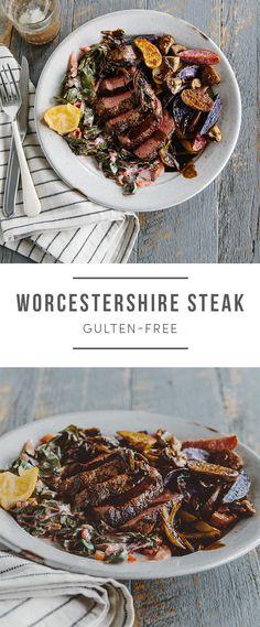 Gluten-free Worchestershire Steak. Recipe here: https://greenchef.com/recipes/worcestershire-steak?utm_source=pinterest&utm_medium=link&utm_campaign=social&utm_content=GF-shrimp-tom-kha