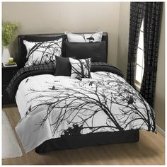 25 Awesome Bed Sets For Your Home - Bedding Set - Ideas of Bedding Set - black-and-white-toile-bedding-sets-black-and-white-bedding-sets Daybed Comforter Sets, White Comforter Bedroom, Black Bedding, Toile Bedding, Daybed Sets, Modern Bedding, Bedroom Black, Bedroom Bed, Cozy Bedroom