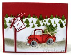Winter Loads of Love.  love the tree in the truck tied with twine.  try punching snowflakes or perhaps use real pressed greenery.