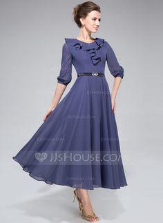 A-Line/Princess Scoop Neck Tea-Length Chiffon Mother of the Bride Dress With Sash Cascading Ruffles (008042829) - JJsHouse