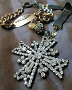 vintage assemblage necklace  BADGE OF COURAGE  by TheFrenchCircus, $189.00