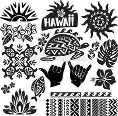 Havaí definido em preto e branco — Ilustração Stock #19945669