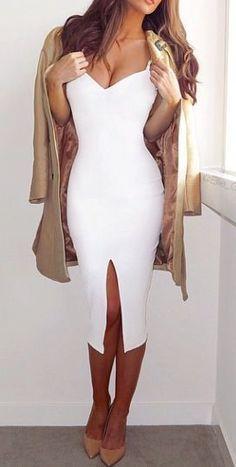 white + nude. bodycon dress.