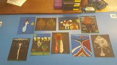 We took leaves, sticks, and rocks from our nature walk and created people using black card stock and oil pastels