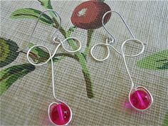 Silver Curl earrings with Color Pink Druk Glass Beads by JoJosgems, $17.00