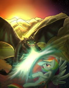 Toothless Vs. Rainbow Dash by Skytch