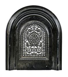 completely intact civil war-era heavily ornamented cast iron arch top interior residential black enameled fireplace summer cover with matching surround