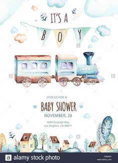 Stock Photo - Baby boys world. Cartoon airplane and waggon locomotive watercolor illustration. Child birthday set of plane, air vehicle, transport elements. Watercolor Illustration Children, Baby Illustration, Eid Photos, Cartoon Airplane, Kids World Map, Baby Tattoos, Expecting Baby, Baby Kind, Baby Prints