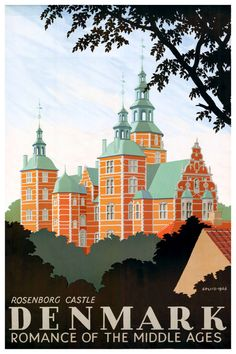 A SLICE IN TIME Denmark Danish Rosenborg Castle Europe Vintage Travel Art Advertisement Collectible Wall Decor Poster Print. Measures 10 x inches Poster Retro, Poster Art, Vintage Travel Posters, Poster Prints, Denmark Tourism, Denmark Travel, Pub Vintage, Photo Vintage, Vintage Photos
