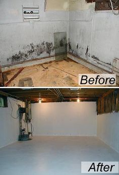 Basement makeovers on pinterest basement makeover for Crawlspace to basement conversion cost