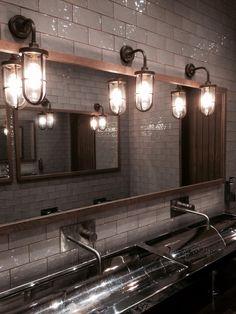 The Farmers Arms, Poynton - Feeding Trough Sink Industrial Toilets, Industrial Restaurant, Industrial Bathroom, Pub Interior, Restaurant Interior Design, Bathroom Interior Design, Barn Sink, Commercial Bathroom Sinks, Restaurant Bathroom