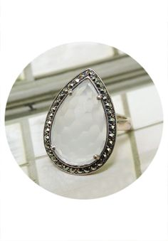 Sterling Silver, Quartz & Marcasite Ring $69