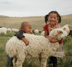 Mongolian kids with sheep. The main Mongolian livelihood is livestock, especially in countryside, but the harsh climate is challenging for survival of their animals. ©2010 World Vision