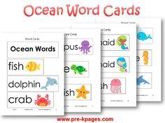 Printable Ocean Word Cards for Pocket Chart or Word Wall in #preschool and #kindergarten