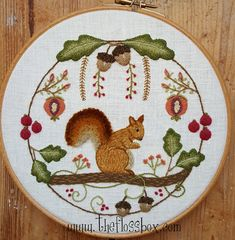 Squirrel Wreath Crewel Embroidery Pattern and Kit by Theflossbox