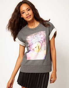ASOS Sweatshirt with Crop Sleeves and Unicorn Square