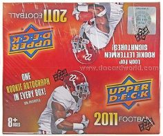2011 Upper Deck Football box (24 pk RETAIL) by Upper Deck. $28.95. Each sealed box contains 24 packs of 5 cards each (players in their college uniforms) in a 250 card set. >>> Each box contains ONE Autograph card. Inserts: 1991 UD 20th Anniversary, Conference Clashes, Class Of, Saturday in Action, Historical Programs, Dream Tandems, and Autograph cards 1:20 (Star Rookies, #`d Rookie Letterman, and Ultimate Collection Rookie 1:480).