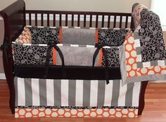 4 piece Black Gray and Orange Circle and by CreationsfromSara, $260.00