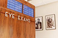 Train style digital exam wait, Warby Parkers Greene Street store