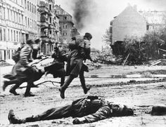 Soviet soldiers on the move during the Battle of Berlin, April 1945