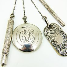 Antique Edwardian Sterling Silver 4 Pc. Dance or Theatre Chatelaine