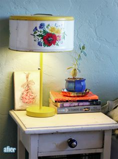 a lovely old cake canister gets new life  as a lamp!