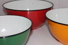 Red, Green & Orange Enamelware Bowls