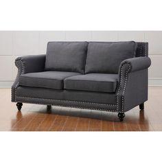 64.6 inches long Camden Grey Linen Loveseat | Overstock.com Shopping - The Best Deals on Sofas & Loveseats