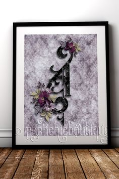 Stunning gothic style Monogram to add the most perfect finishing touch to any bedroom or alternative home decor #RockChicBoutique #Gothic #Monogram #WallArt #GothicHomeDecor